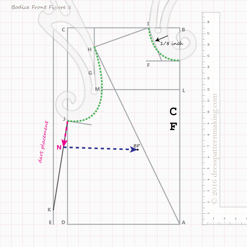 bodice block front instructions step 8