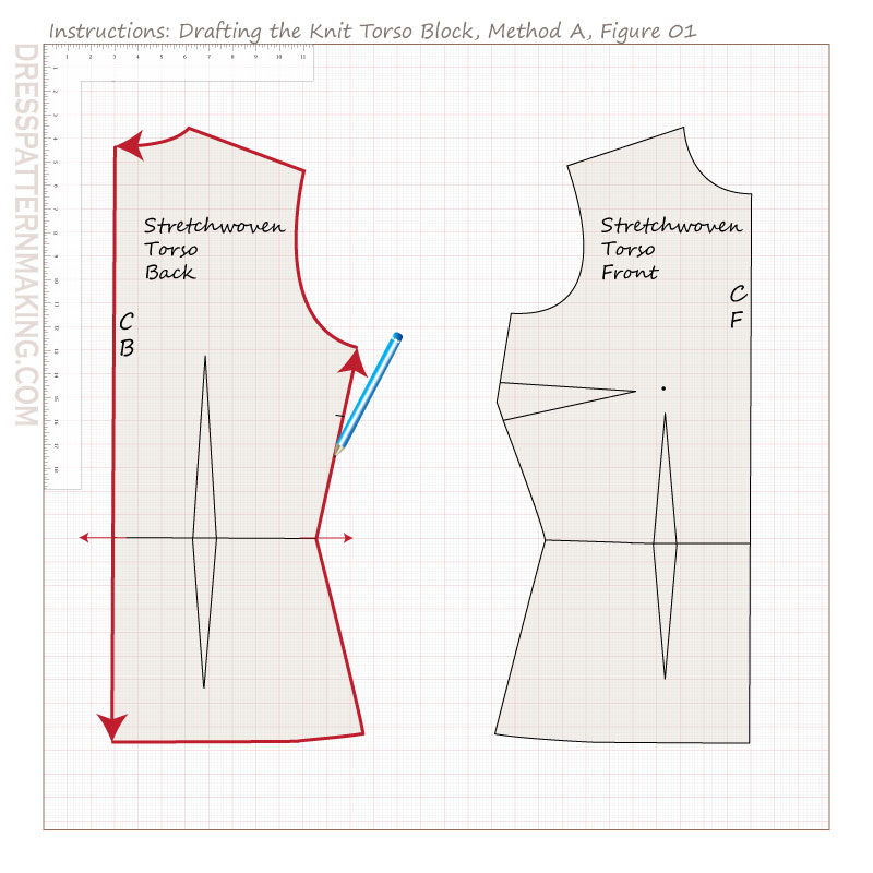 drafting knit torso block methodA figure 01