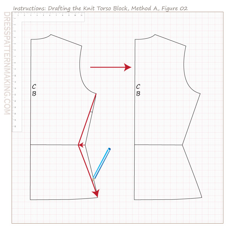 drafting knit torso block methodA figure 02