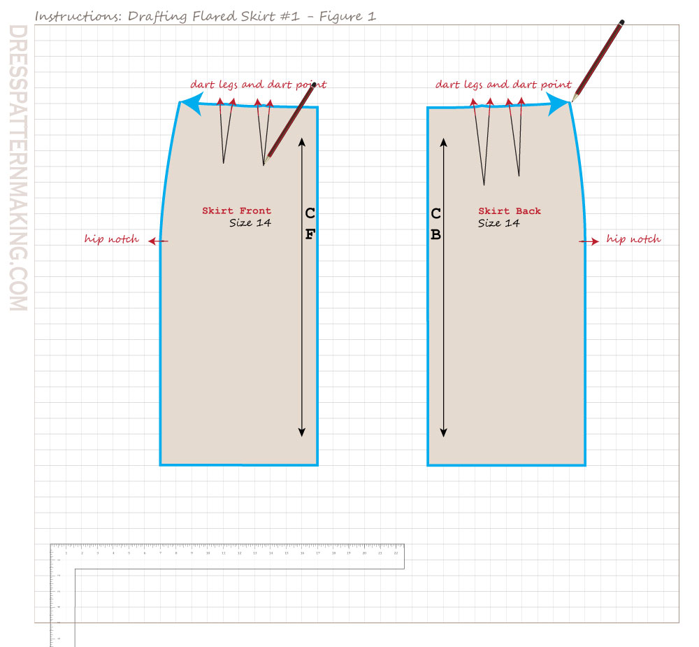 drafting flared skirt 01 figure 01