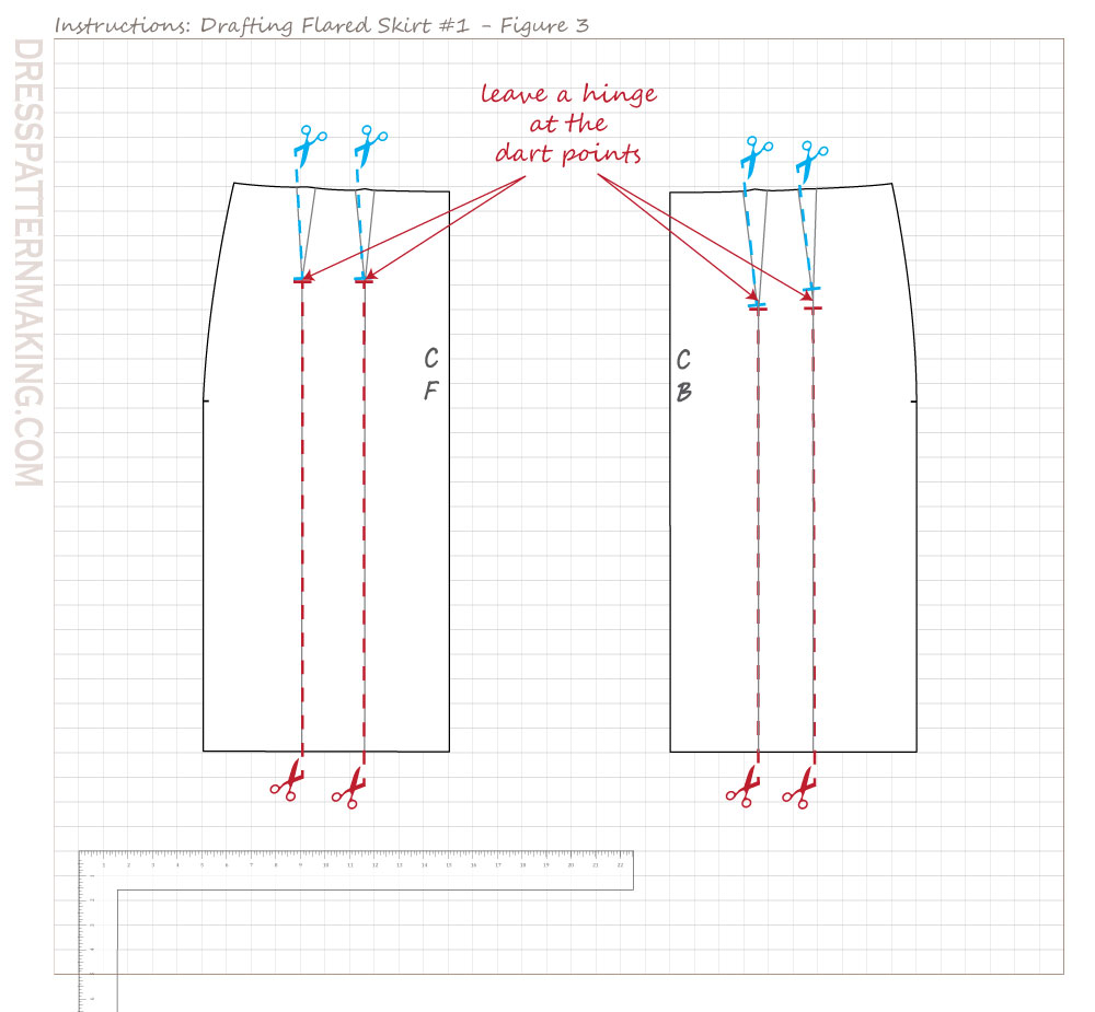 drafting flared skirt 01 figure 03
