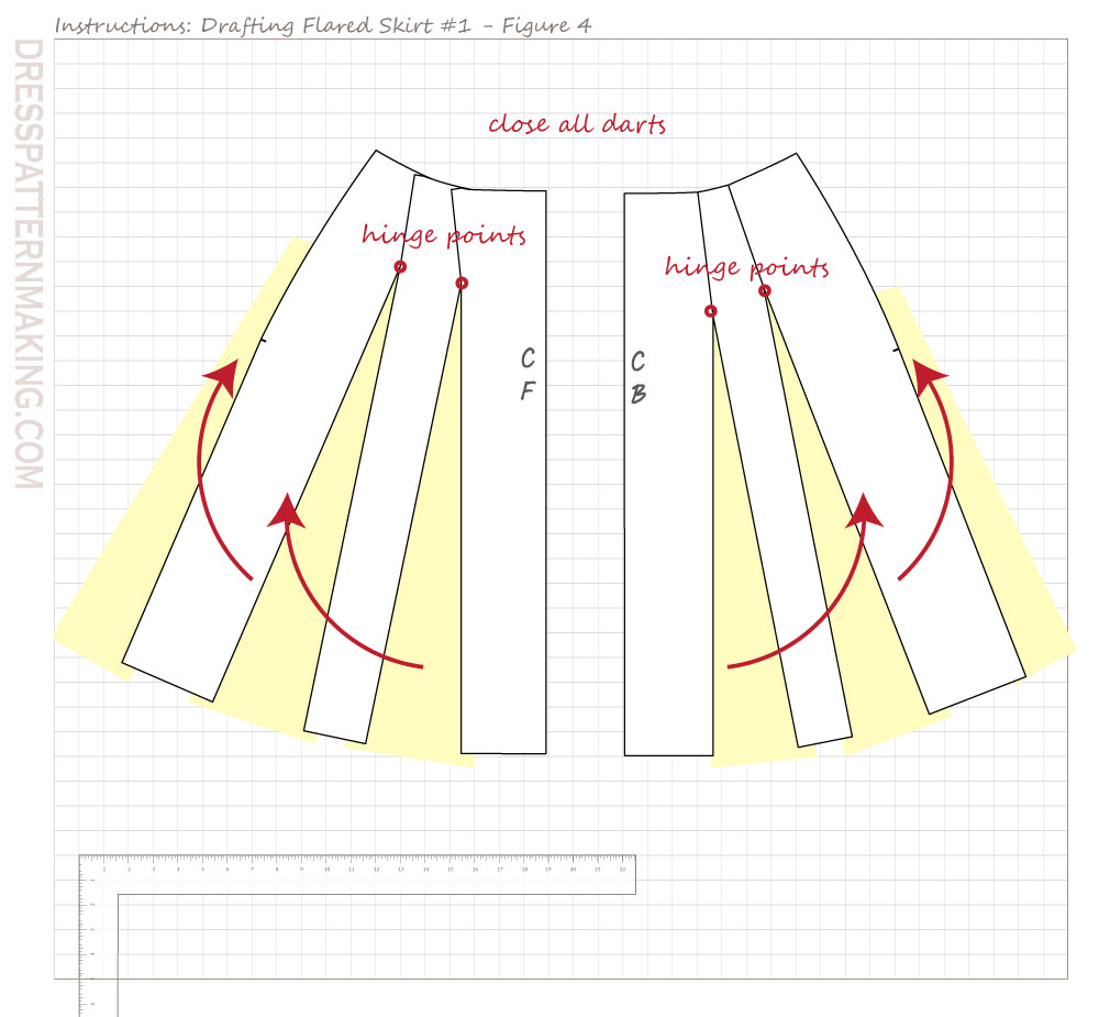 drafting flared skirt 01 figure 04