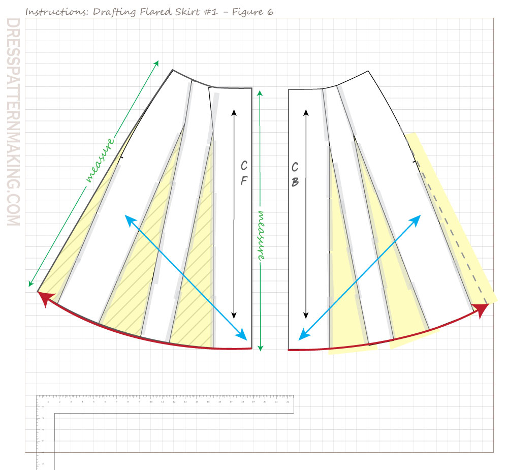 drafting flared skirt 01 figure 06