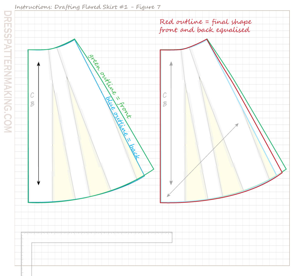 drafting flared skirt 01 figure 07