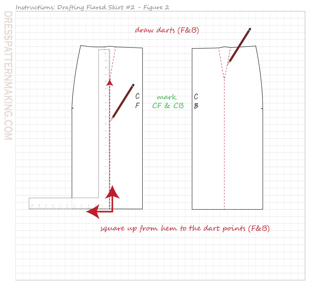 drafting flared skirt 02 figure 02