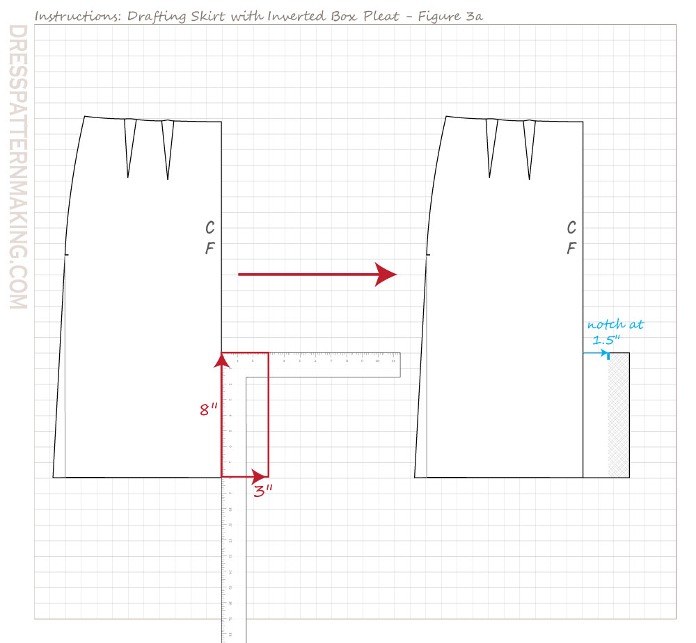 drafting inverted box pleat skirt figure 03a