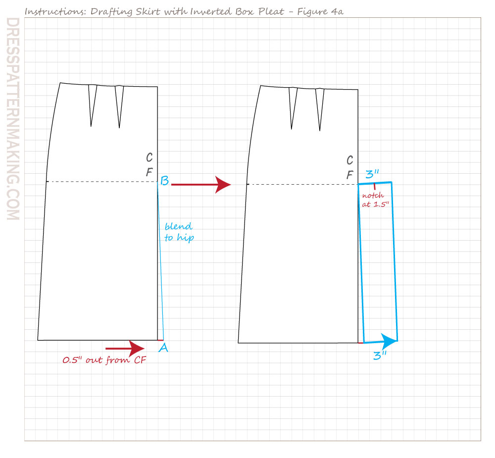 drafting inverted box pleat skirt figure 04a