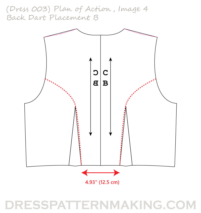 dress 003 POA back dart placement B