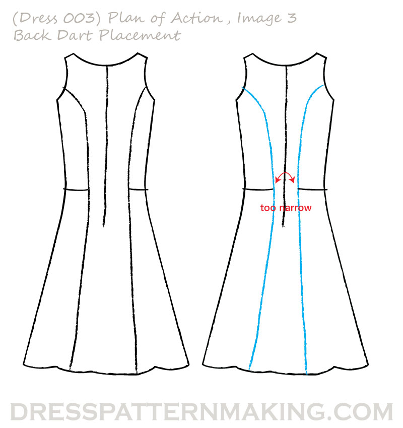 dress 003 POA back dart placement