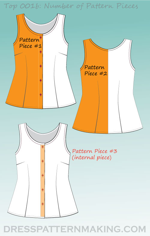 top 001b pattern pieces